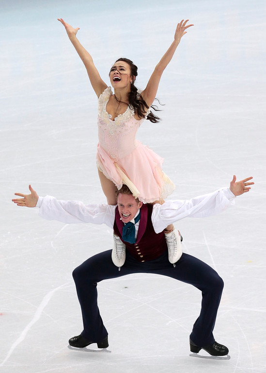. Madison Chock and Evan Bates of the United States compete in the ice dance free dance figure skating finals at the Iceberg Skating Palace during the 2014 Winter Olympics, Monday, Feb. 17, 2014, in Sochi, Russia. (AP Photo/Ivan Sekretarev)