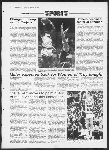 Daily Trojan, Vol. 100, No. 5, January 16, 1986