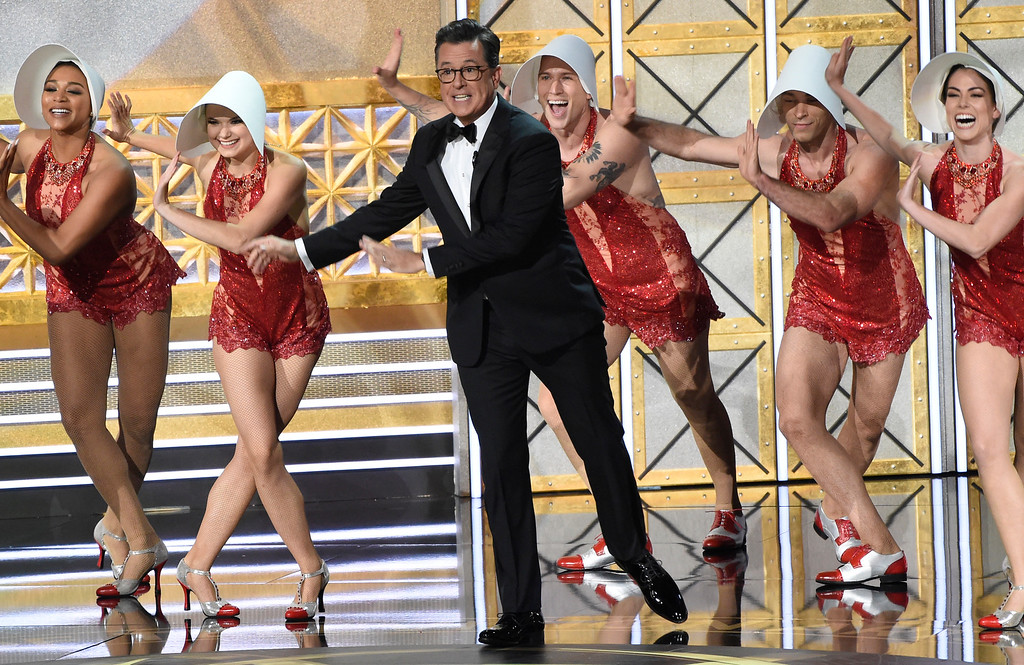 . Host Stephen Colbert performs at the 69th Primetime Emmy Awards on Sunday, Sept. 17, 2017, at the Microsoft Theater in Los Angeles. (Photo by Chris Pizzello/Invision/AP)
