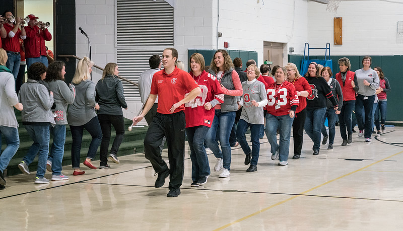St. Brendan's teachers marched Script Ohio