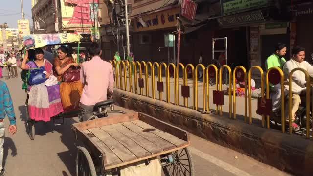 2017 India, chaotic streets of Varanasi.