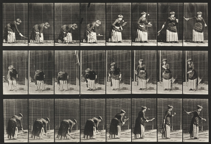 Woman in long dress playing lawn tennis (Animal Locomotion, 1887, plate 295)