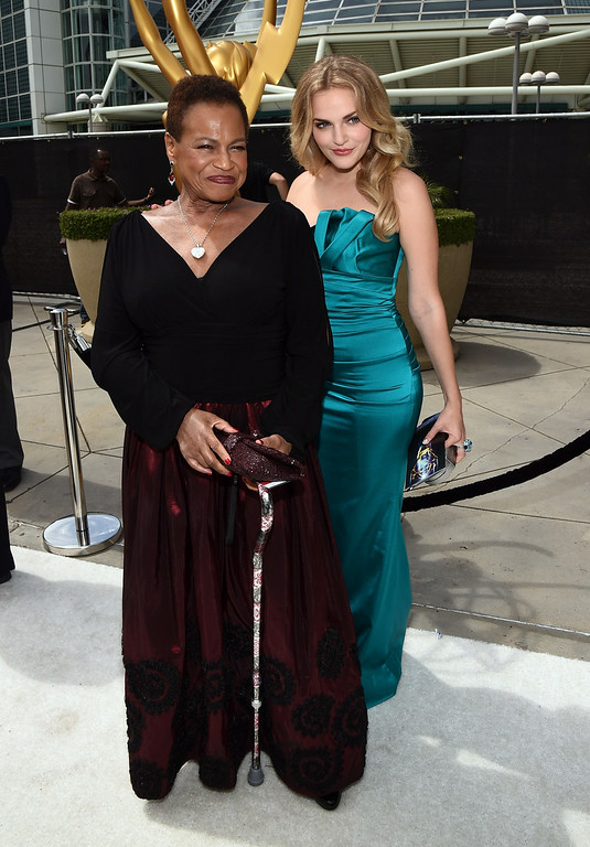 . Actresses Michelle Hurst (L) and Madeline Brewer attend the 66th Annual Primetime Emmy Awards held at Nokia Theatre L.A. Live on August 25, 2014 in Los Angeles, California.  (Photo by Michael Buckner/Getty Images)