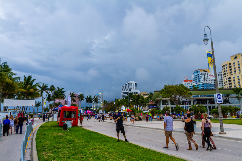 Dark clouds approach downtown West Palm Beach during SunFest on May 2, 2019. [JOSEPH FORZANO/palmbeachpost.com]