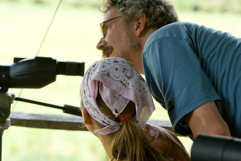 Abby and Bill checking out animals at Langoue Bai.