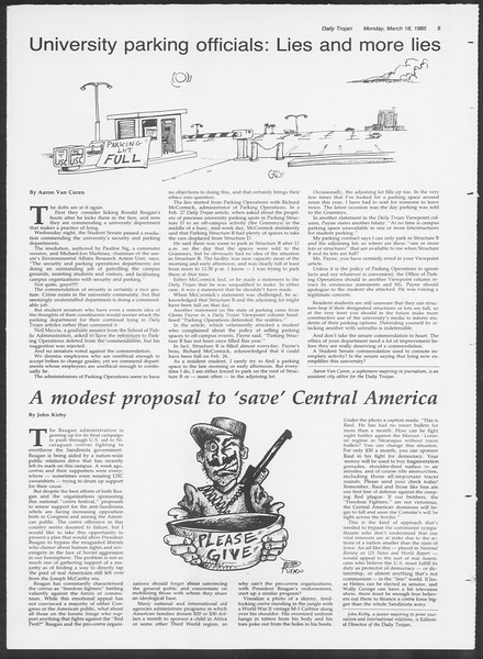 Daily Trojan, Vol. 98, No. 45, March 18, 1985