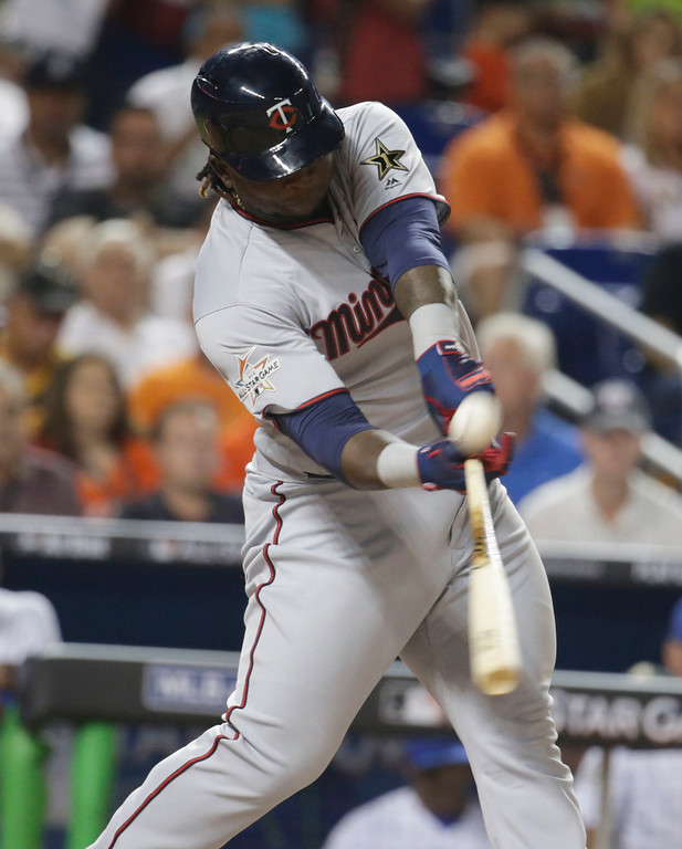 . American League\'s Minnesota Twins Miguel Sanó hits an RBI which scores a run in the fifth inning, during the MLB baseball All-Star Game, Tuesday, July 11, 2017, in Miami. (AP Photo/Lynne Sladky)
