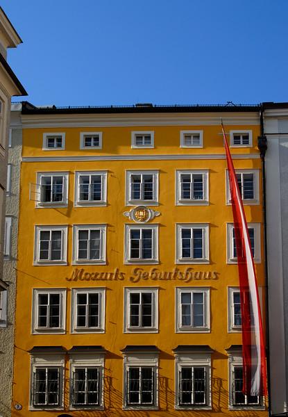 Facade of Mozart's Birthplace, Salzburg, Austria
