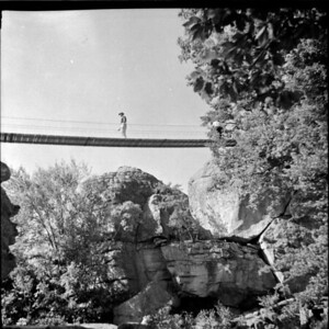 Swinging bridge.