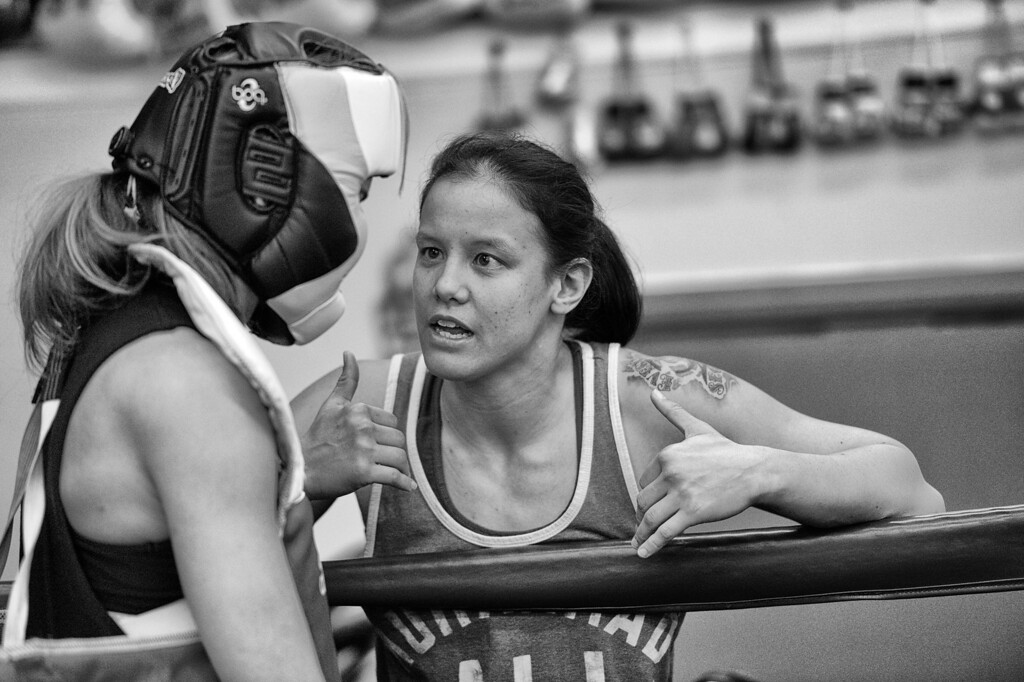 . Shayna Baszler choaches Jessamyn Duke during a Duke sparing session at the Glendale Fighting Club in Glendale. (Photo by Hans Gutknecht/Los Angeles Daily News)