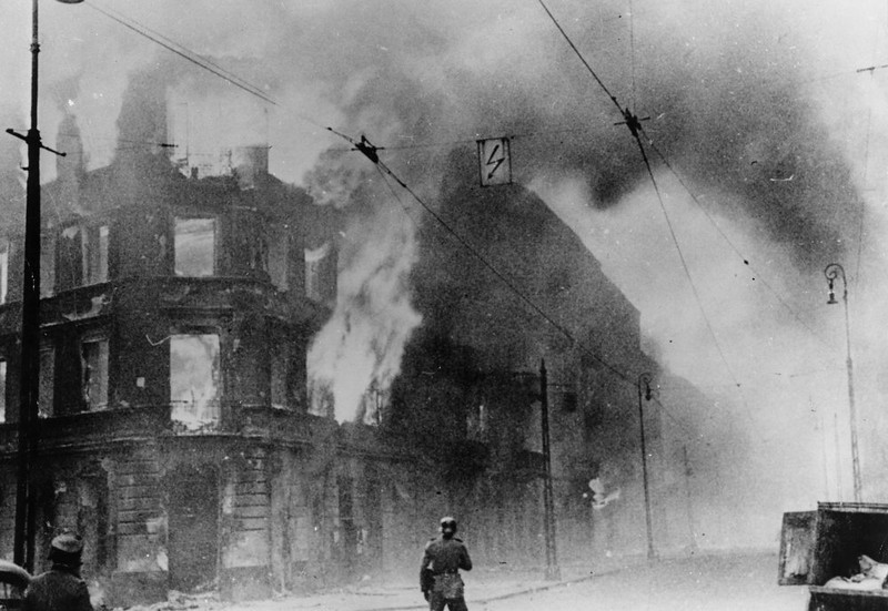 . Fire breaks out during the Warsaw Ghetto Uprising, a  Polish insurrection against the German forces who had occupied Poland at the start of World War II. By 1944 Warsaw was the center of Polish resistance, but the army was forced to surrender on October 2nd 1944 under pressure from German air raids.  (Photo by Keystone/Getty Images)