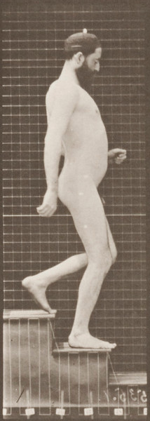 Nude man descending stairs