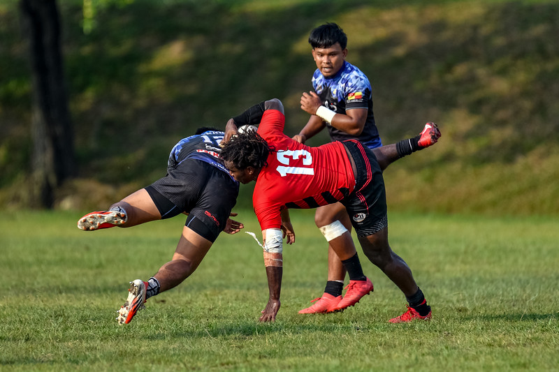 KL Saracens in action against Royal Town Warriors during a Liga KRS match 30th June 2019. Photo by Tom Kirkwood/SportDXB