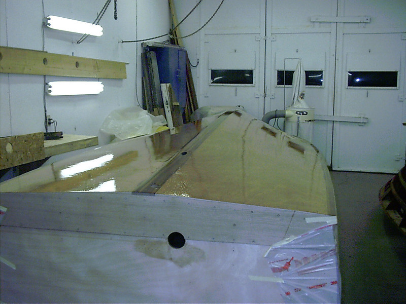 Rear view after three coats of epoxy applied.