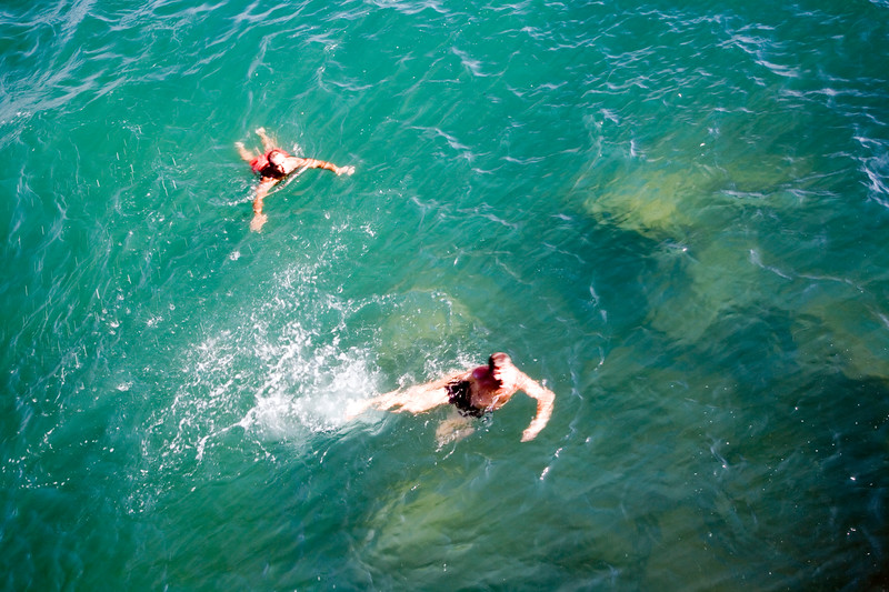 Refreshing image of people swimming on the sea.