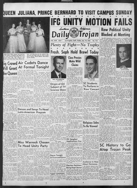 Daily Trojan, Vol. 43, No. 116, April 18, 1952
