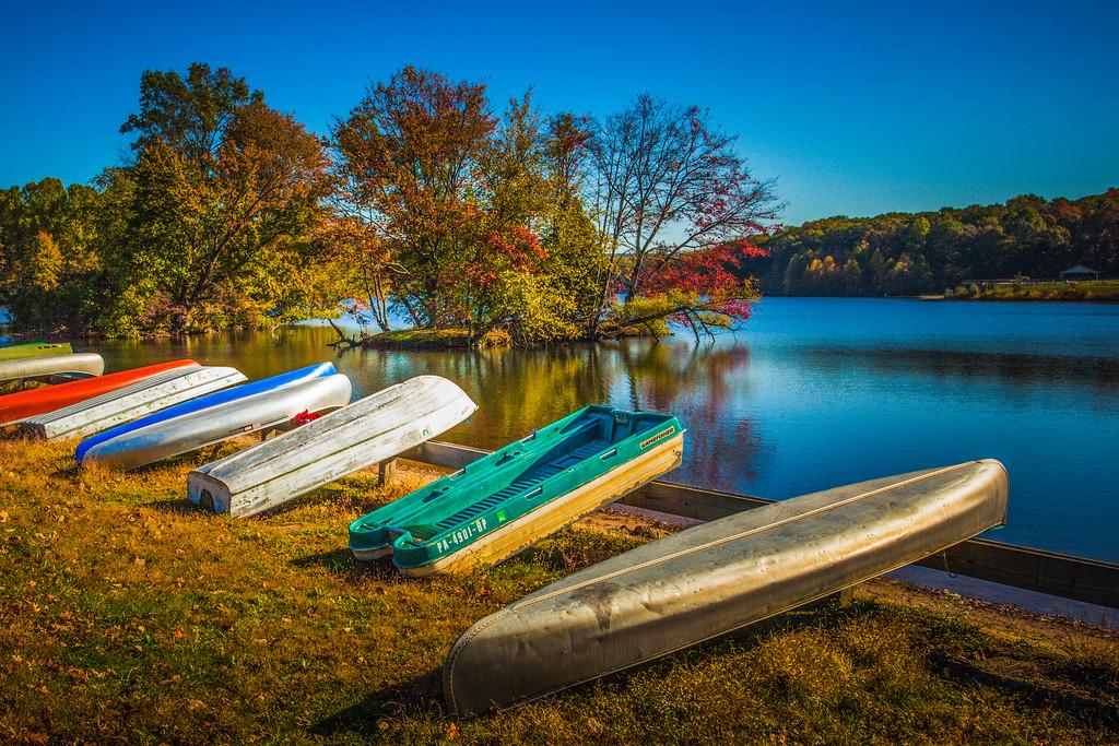 宾州 French Creek State Park,岸边小船