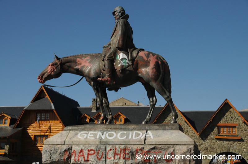 Graffiti Statue of Julio A. Roca in Bariloche, Argentina