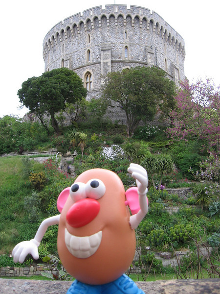 Sir Potato Head greeting visitors at Windsor castle.