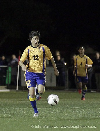 Seb Ninness with teh ball at the Wellington Boys Youth Championship Premier Football Final (Trevor Rigby Cup)  between Wellington College and Rongatai College played at Wellington College, Wellington, New Zealand on 23 August 2012. Photo: john.mathews @xtra.co.nz