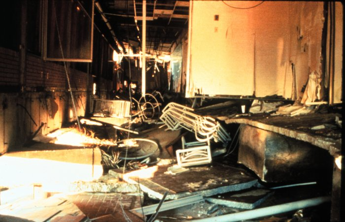 . Interior damage to the Holiday Inn at Myrtle Beach, South Carolina After passage of Hurricane Hugo, 1989. National Hurricane Center. NOAA\'s National Weather Service (NWS) Collection
