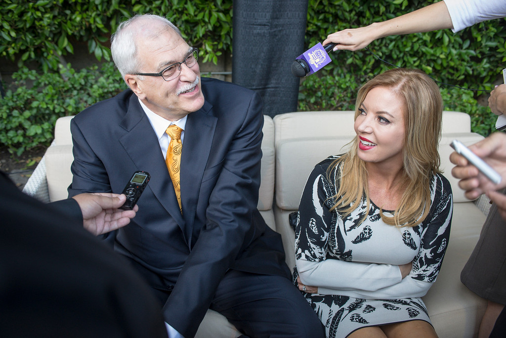 . Jeanie Buss and Phil Jackson talks to the media about the Lakers at a Time Warner event to honor the late Jerry Buss in Los Angeles.  Photo by David Crane/Los Angeles Daily News