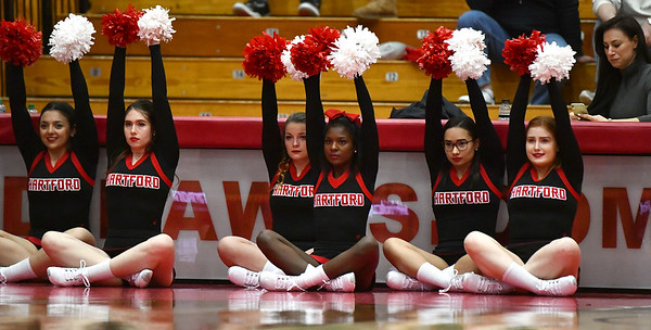 12/21/2019 Mike Orazzi | StaffrUniversity of Hartford cheerleaders during Saturday's women's basketball game with CCSU in West Hartford.