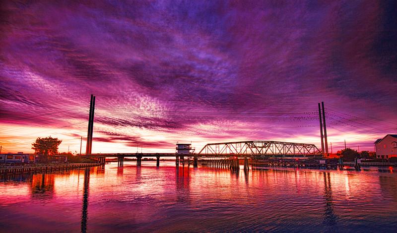 Fire Red Sunset Swing Bridge Topsail Island (1 of 1).jpg