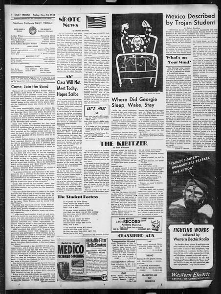 Daily Trojan, Vol. 34, No. 40, November 13, 1942