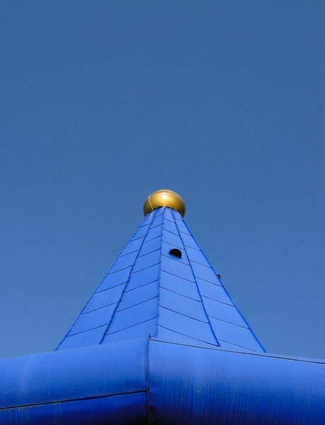 Blue-roof Turret at Rogner Thermal Spa and Hotel Designed by Friedensreich Hundertwasser in Bad Blumau, Austria