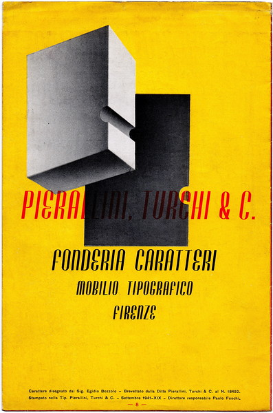 Advertising brochure, Pierallini & Turchi, Florence, 1941.