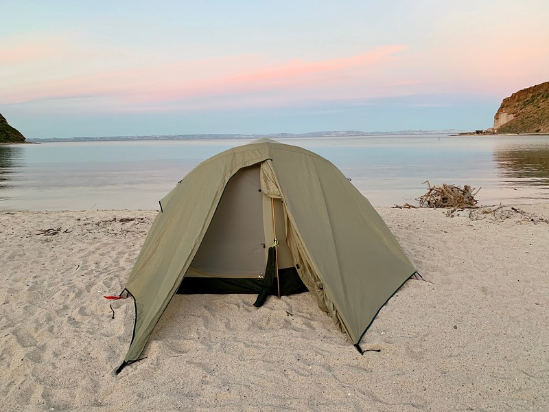 Remote camping on Playa Coralito beach thats located on Isla Espiritu Santo