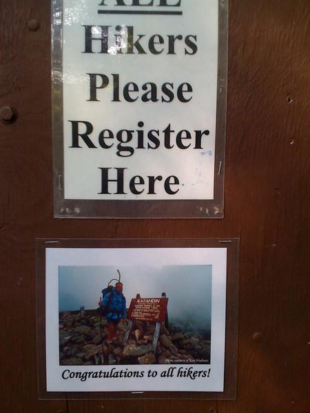 Thru-hiker Registry at Baxter