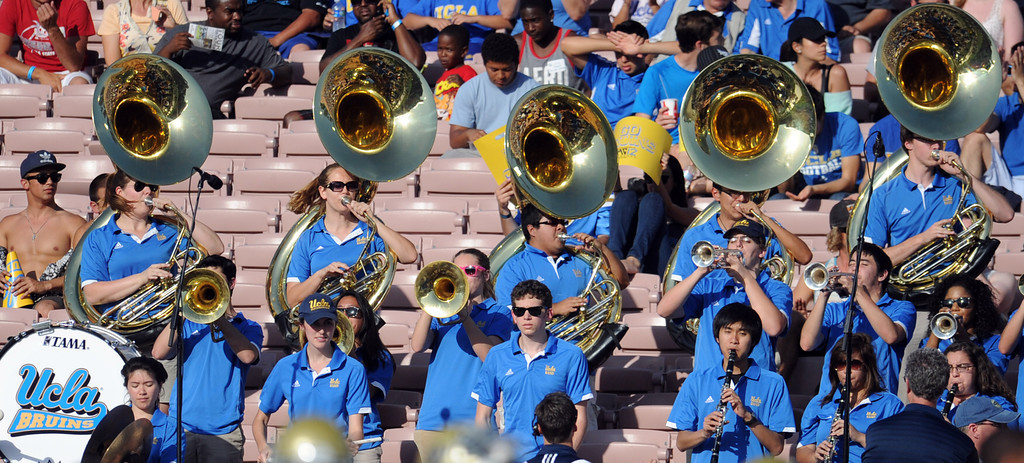 . UCLA band during the football spring showcase college football game in the Rose Bowl on Saturday, April 27, 2013 in Pasadena, Calif.    (Keith Birmingham Pasadena Star-News)