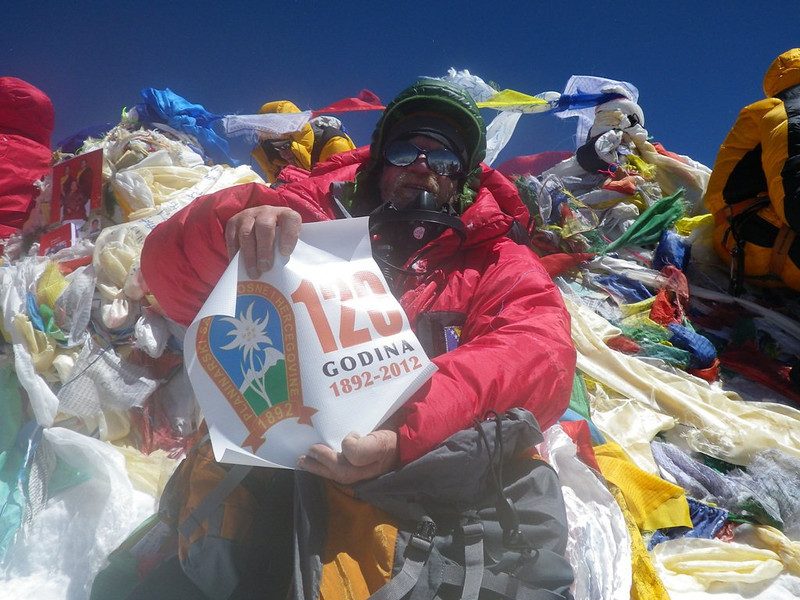 At the roof-top of the world: Mt Everest at 29,035ft or 8.850m - 5.  With PSBiH logo. 10am - May 19, 2012.