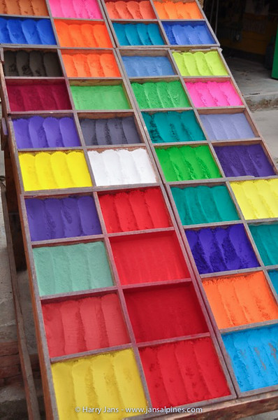 brightly Coloured Tikka Powders for sale at Pashupatinath