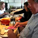 Helmer Vossers, Director of Budget Policy for the Dutch Ministry of Finance, demonstrates the proper application of hagelslag (chocolate sprinkles) on buttered bread (link to purchase)