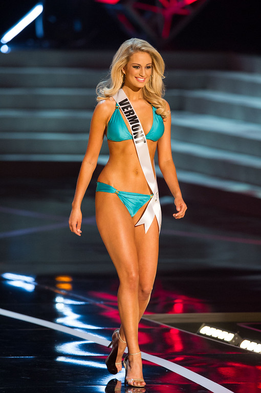 . In this photo provided by the Miss Universe Organization,  Miss Vermont USA 2013, Sarah Westbrook,  competes in her swimsuit during the  2013 Miss USA Competition Preliminary Show in Las Vegas on Wednesday June 12, 2013.   She will compete for the title of Miss USA 2013 and the coveted Miss USA Diamond Nexus Crown on June 16, 2013.  (AP Photo/Miss Universe Organization, Darren Decker)