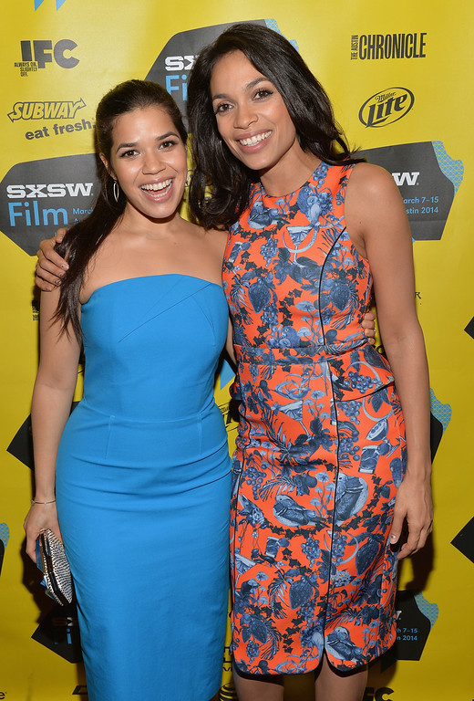 """. Actress America Ferrera (L) and actress Rosario Dawson pose in the green room for the premeire of \""""Cesar Chavez\"""" during the 2014 SXSW Music, Film + Interactive Festival\"""" at the Paramount Theatre on March 10, 2014 in Austin, Texas.  (Photo by Michael Buckner/Getty Images for SXSW)"""