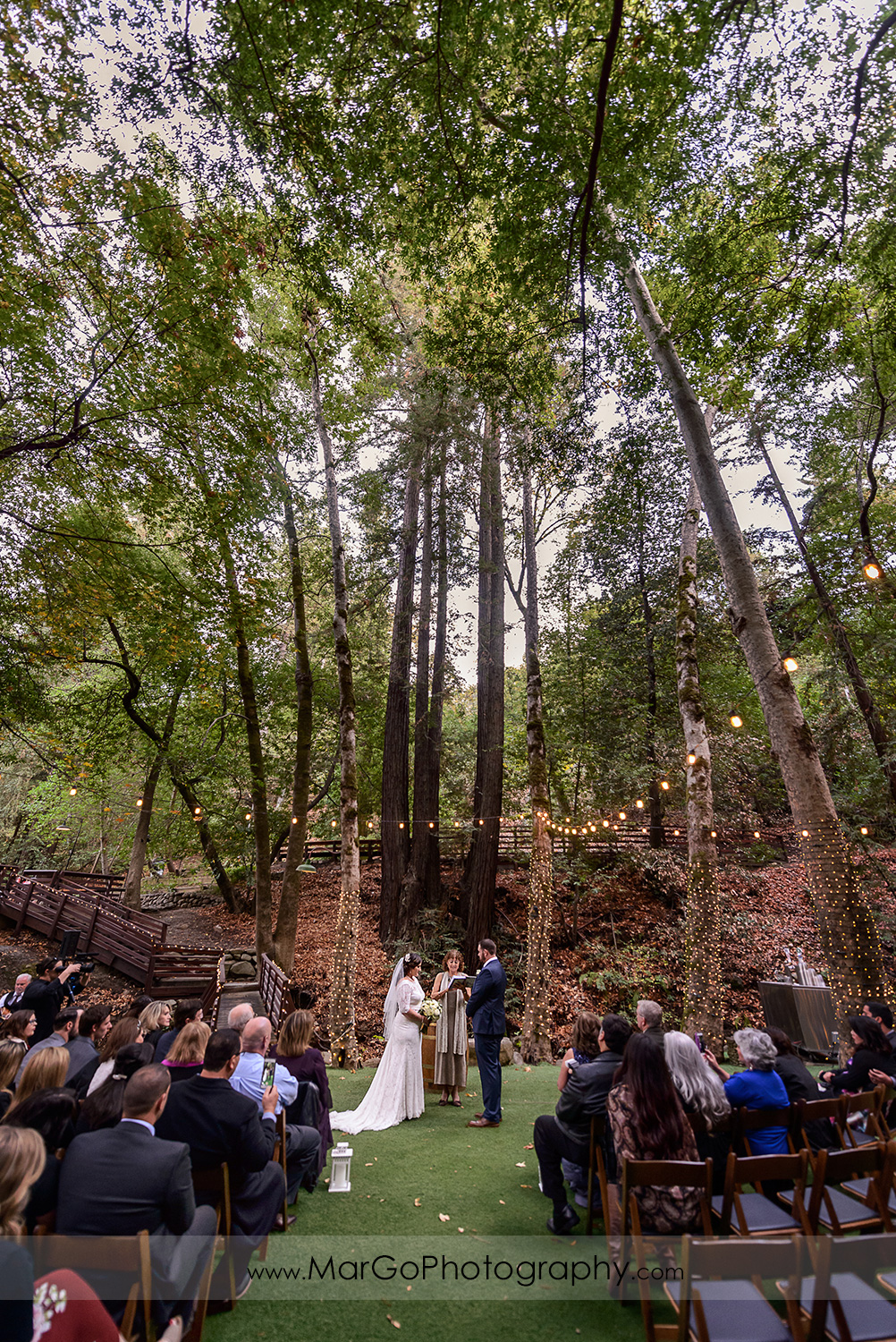 wide angle of wedding ceremony at Saratoga Springs Cathedral Grove