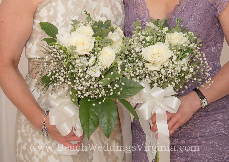 white mixture w greenery, hand-tied (bride & bridesmaid bouquets)