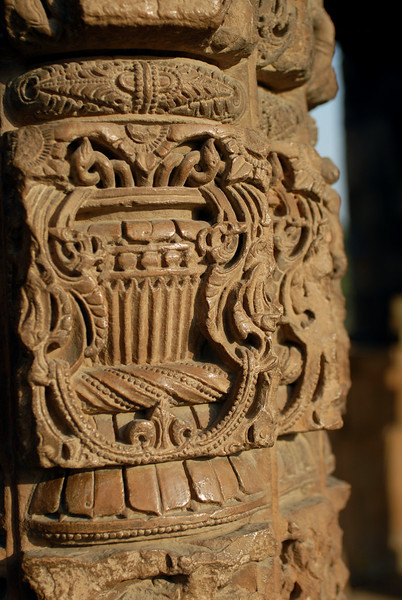 These columns remind me of a carved piece of furniture that was at my parents house.  The columns almost look like they are made of wood - but they are solid rock.