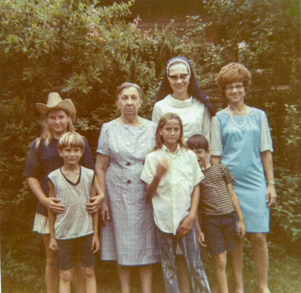 Left to right: Julie Smock, David Smock, Bertha Jacob, Sue Smock, Sr. Clara Jacob, John Smock, Maria Jacob Smock July 12, 1970