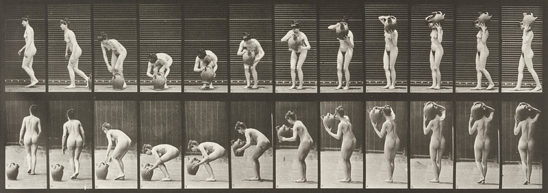 Nude woman removing a water jar from shoulder to the ground (Animal Locomotion, 1887, plate 225)