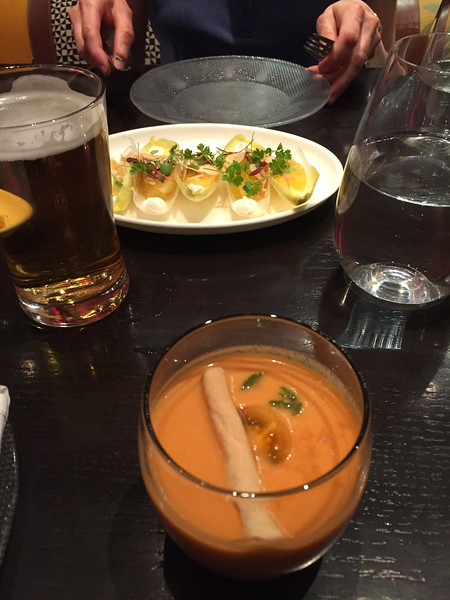 Lunching like a spaniard at Jose Andres.  Had their tapas lunch special.  All of it was excellent. Tichi's gazpachoClassic chilled Spanish soup made with tomatoes, cucumbers, peppers and bread. Endibias con queso de cabra y naranjasEndives, goat cheese, oranges and almonds