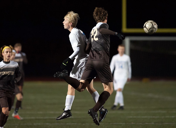 11/14/18 Wesley Bunnell | Staff Plainville #23 vs Stonington #3 soccer in the Class M Semifinal at Xavier High School on Wednesday night. Logan Miller (11) , shown earlier in the game, would score the game winning goal in the 2nd half.