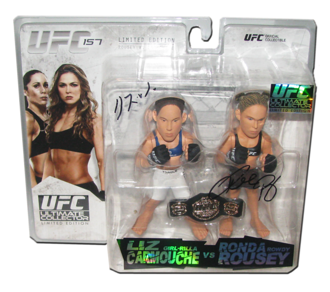Ronda Rousey & Liz Carmouche Autographed UFC Ultimate Collector Series 14 Limited Edition Round 5 Figure
