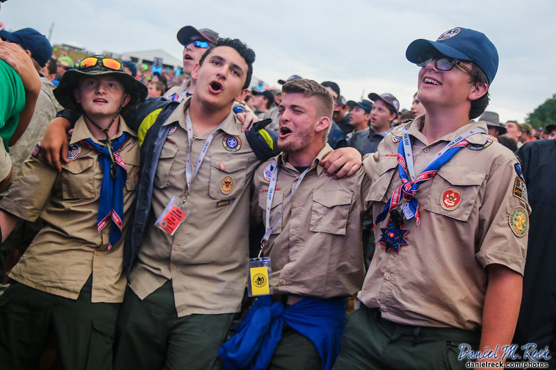 Scouts and Venturers from across the United States participate in the closing stadium show of the 2017 National Scout Jamboree at the Summit Bechtel Reserve in Glen Jean, West Virginia. Photo by Daniel M. Reck.
