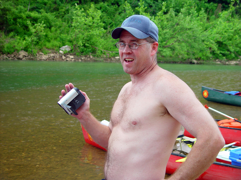 Mark Stone (Steve's brother) brought a video camera. I don't know how he managed to keep it dry, as they tipped the canoe a bit later in the day. Also, he lost his glasses and his hat (which was later recovered further downstream).