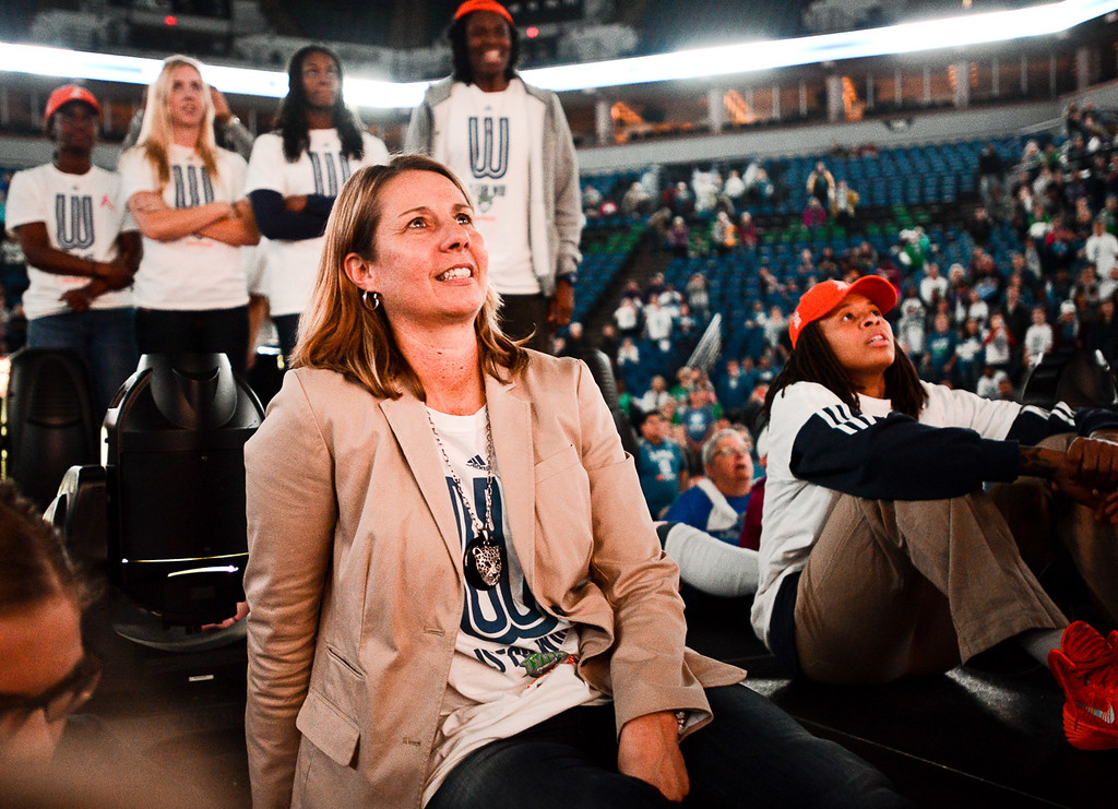 . Lynx head coach Cheryl Reeve and her players watch a film about the season during the team\'s WNBA championship pep rally.   (Pioneer Press: Ben Garvin)